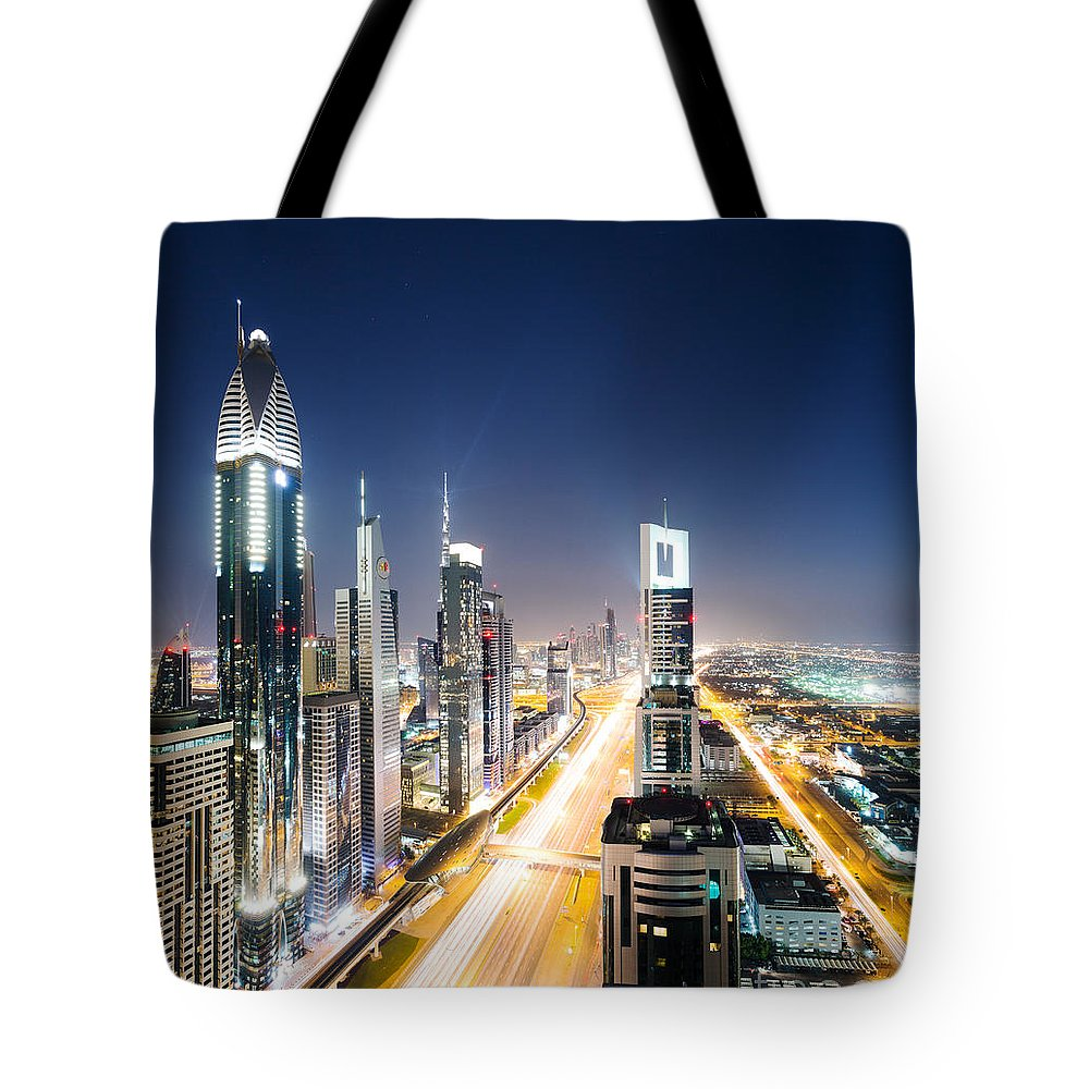 Dubai Skyline Photographs Tote Bags