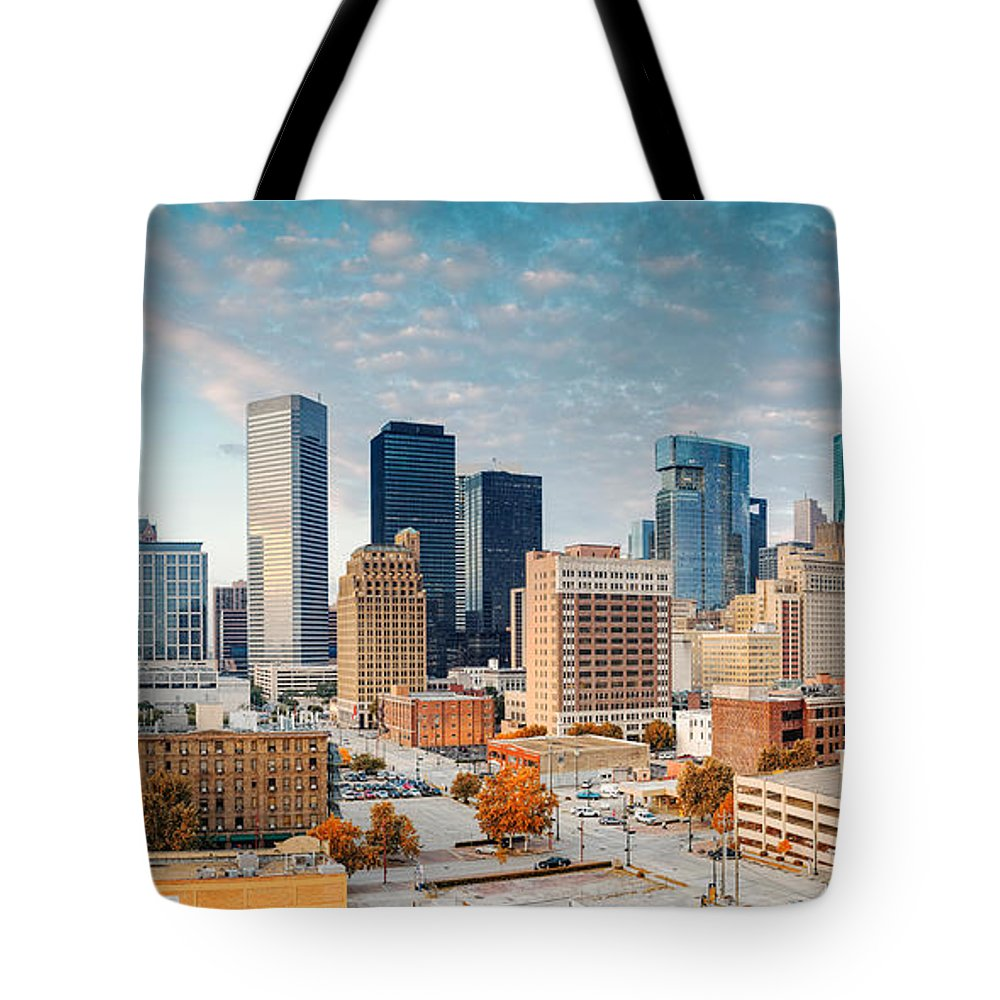 Downtown Houston Tote Bag featuring the photograph Downtown Houston Panorama by Silvio Ligutti
