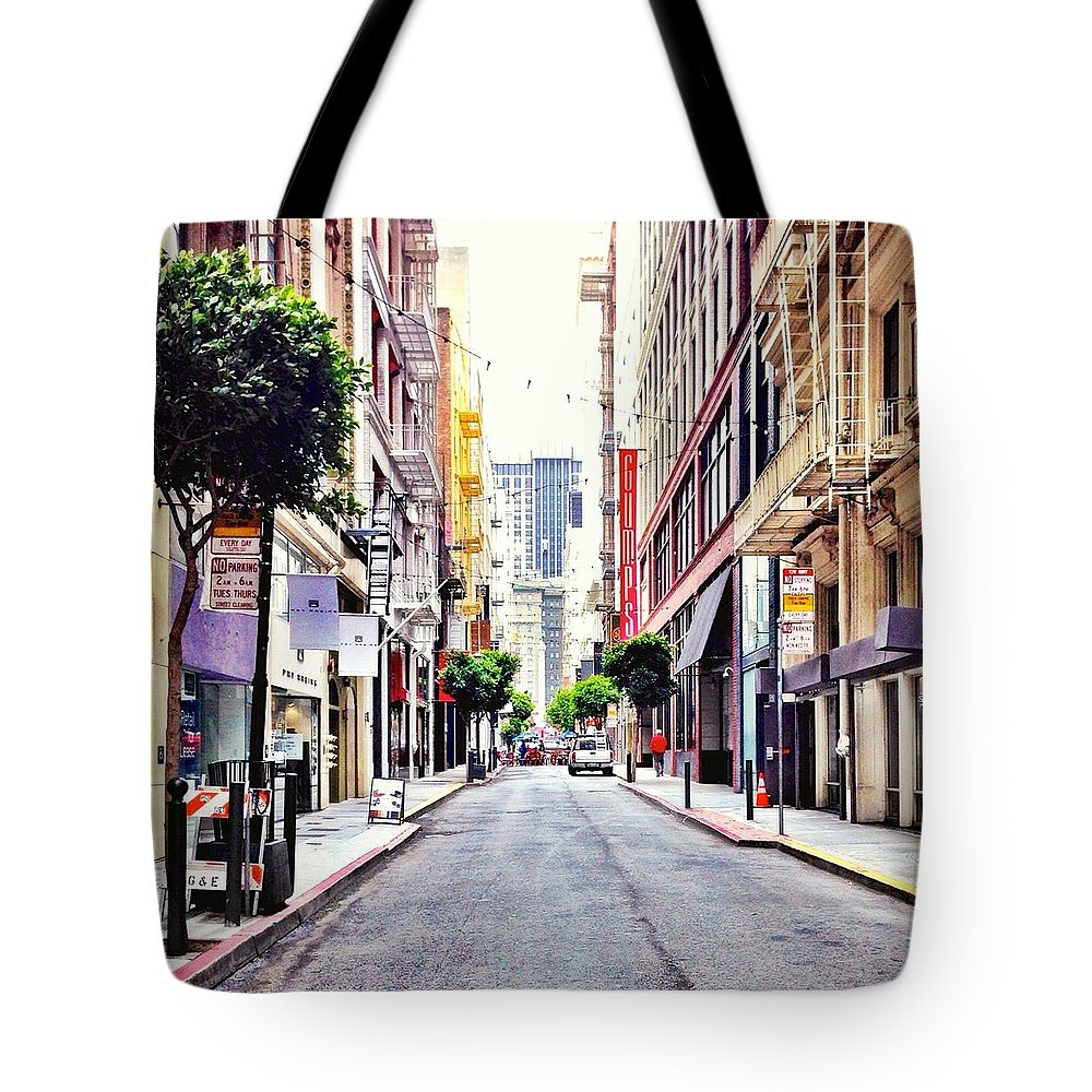 Street Scene Tote Bag featuring the photograph Downtown by Julie Gebhardt