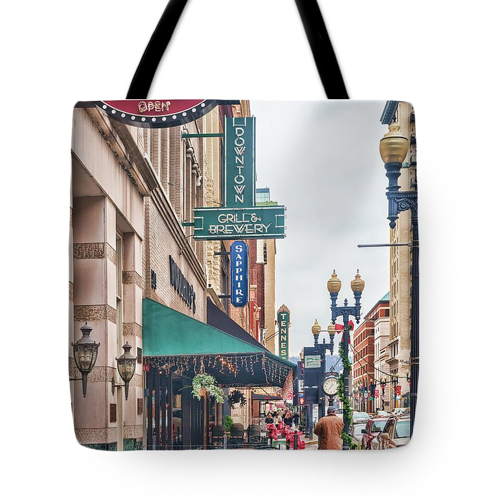 Knoxville Tote Bag featuring the photograph Downtown Knoxville by Sharon Popek