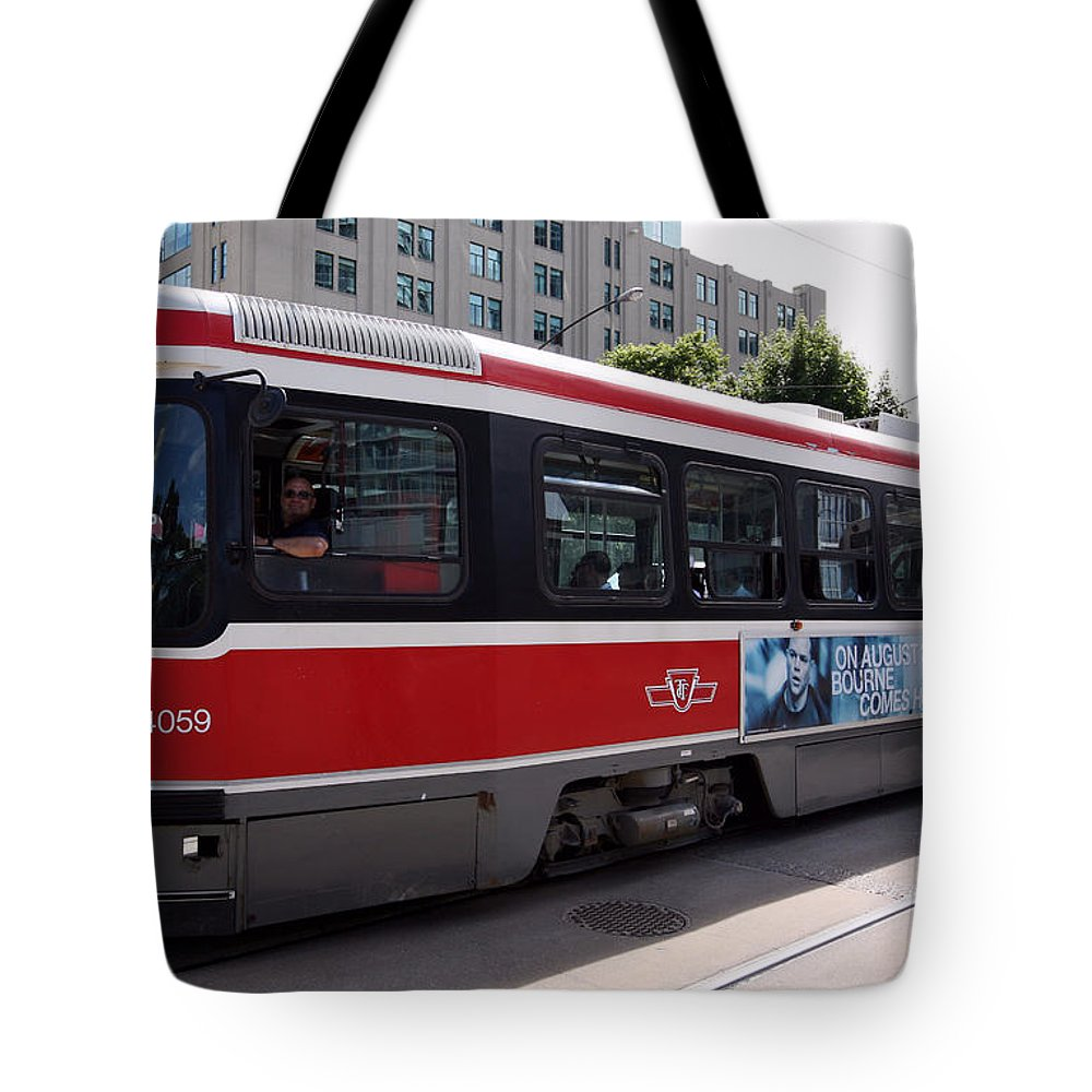 Canada Tote Bag featuring the photograph Downtown Light Rail Toronto Ontario by Bill Cobb