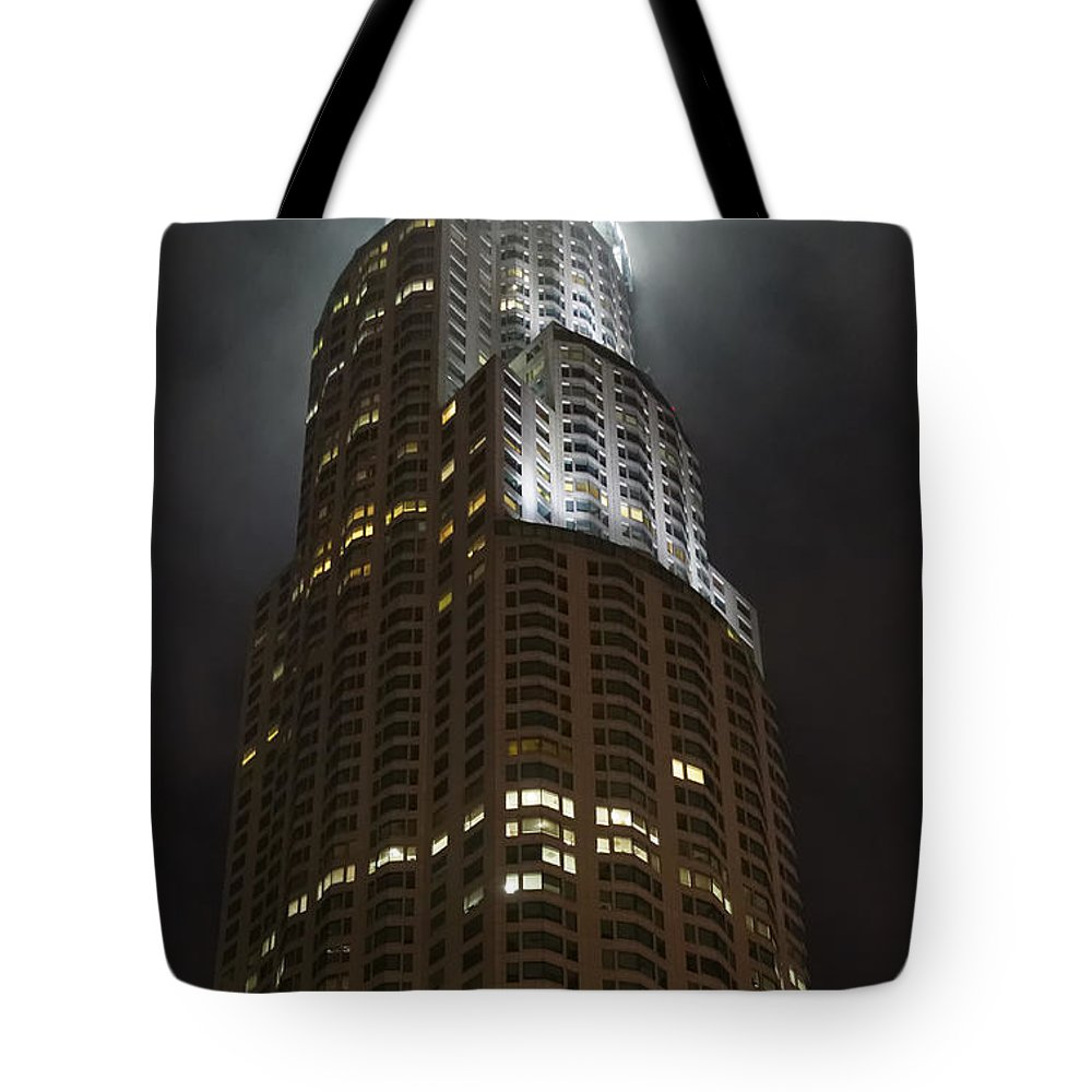 Los Angeles Tote Bag featuring the photograph Downtown Los Angeles In The Fog by Angela Stanton