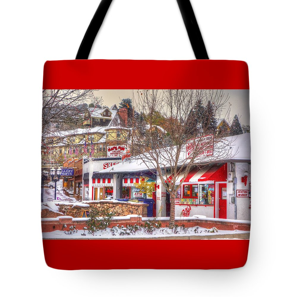 Manitou Springs Tote Bag featuring the photograph Patsy's Candies In Snow by Lanita Williams