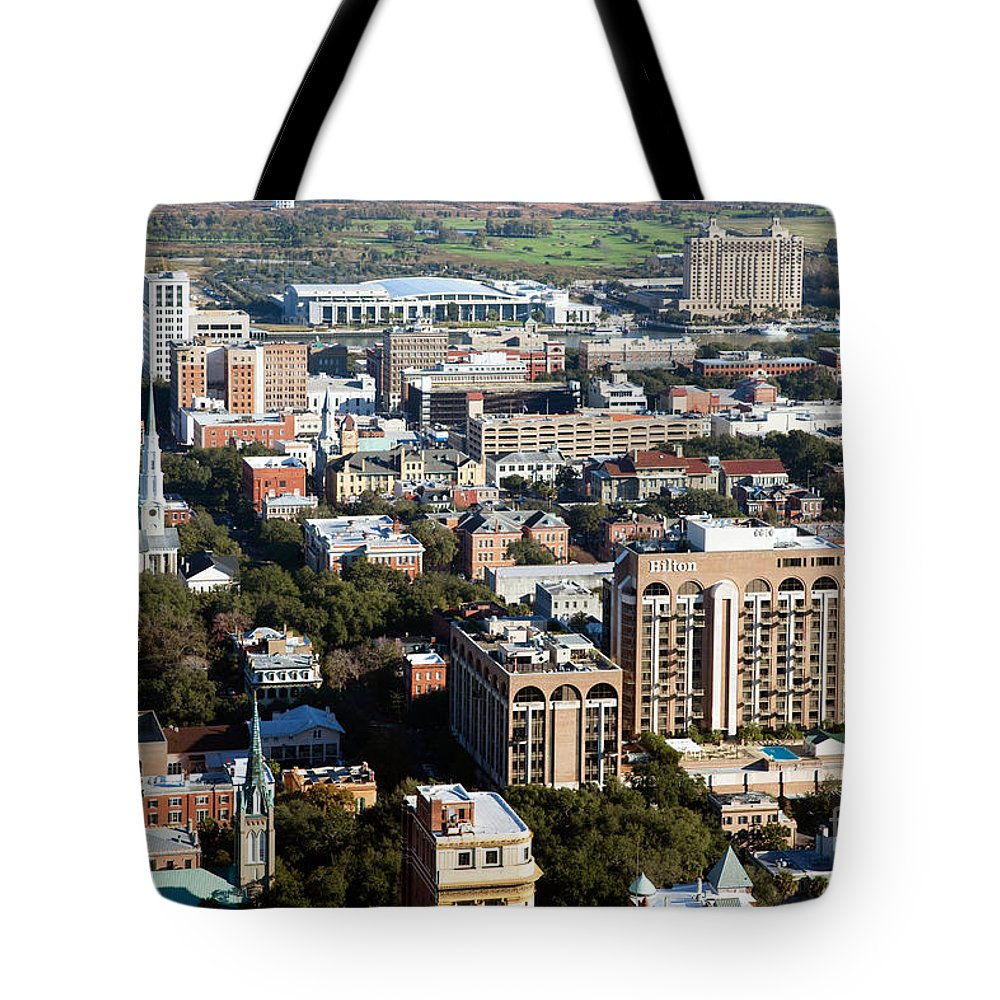 City Tote Bag featuring the photograph Downtown Savannah by Bill Cobb