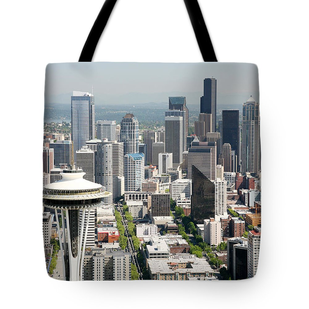 Aerial Tote Bag featuring the photograph Downtown Skyline Of Seattle by Bill Cobb