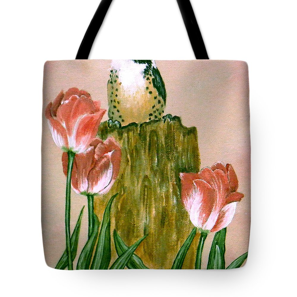 Downy Tote Bag featuring the painting Downy Woodpecker by Laura Wilson