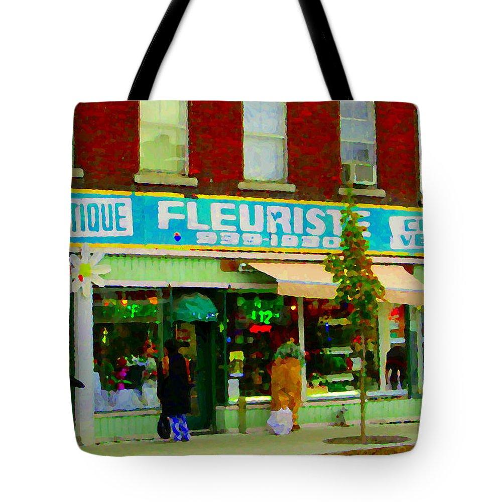 St.henri Tote Bag featuring the painting Dozen Red Roses Boutique Fleuriste Coin Vert Notre Dame Street Scene Montreal Art Carole Spandau by Carole Spandau