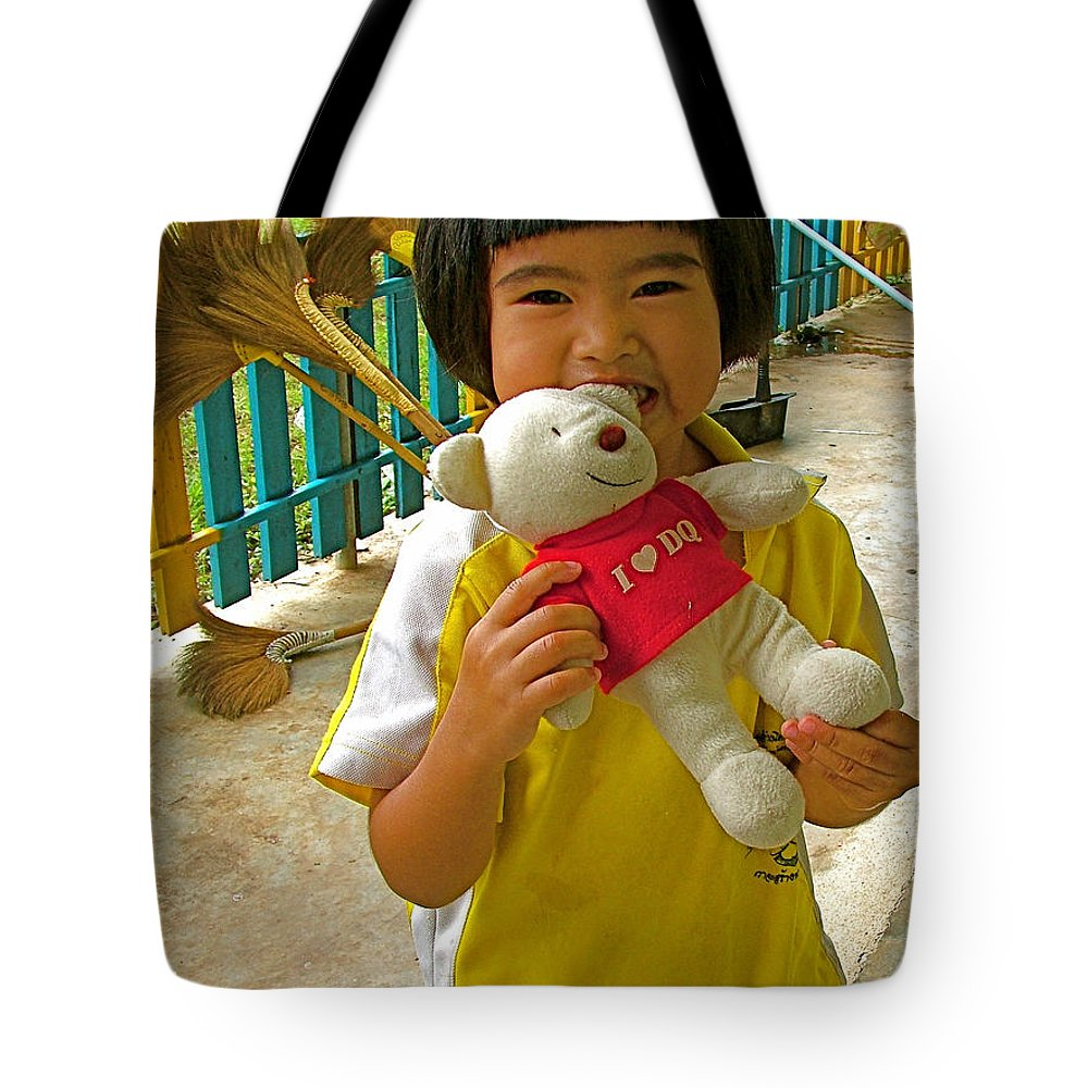 Dq Bear Lover At Baan Konn Soong School In Sukhothai Tote Bag featuring the photograph Dq Bear Lover At Baan Konn Soong School In Sukhothai-thailand by Ruth Hager