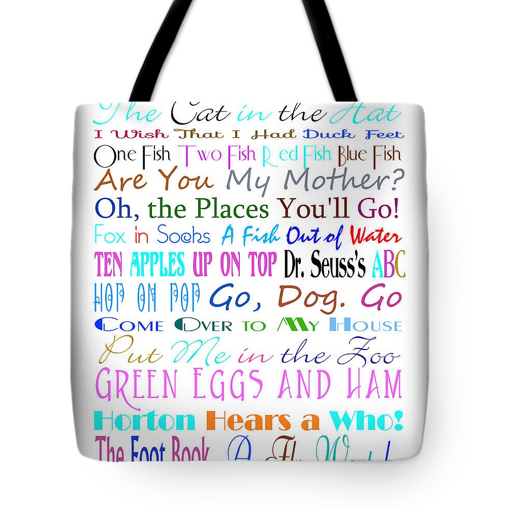 Dr Seuss Tote Bag featuring the digital art Dr Seuss Books 3 by Andee Design