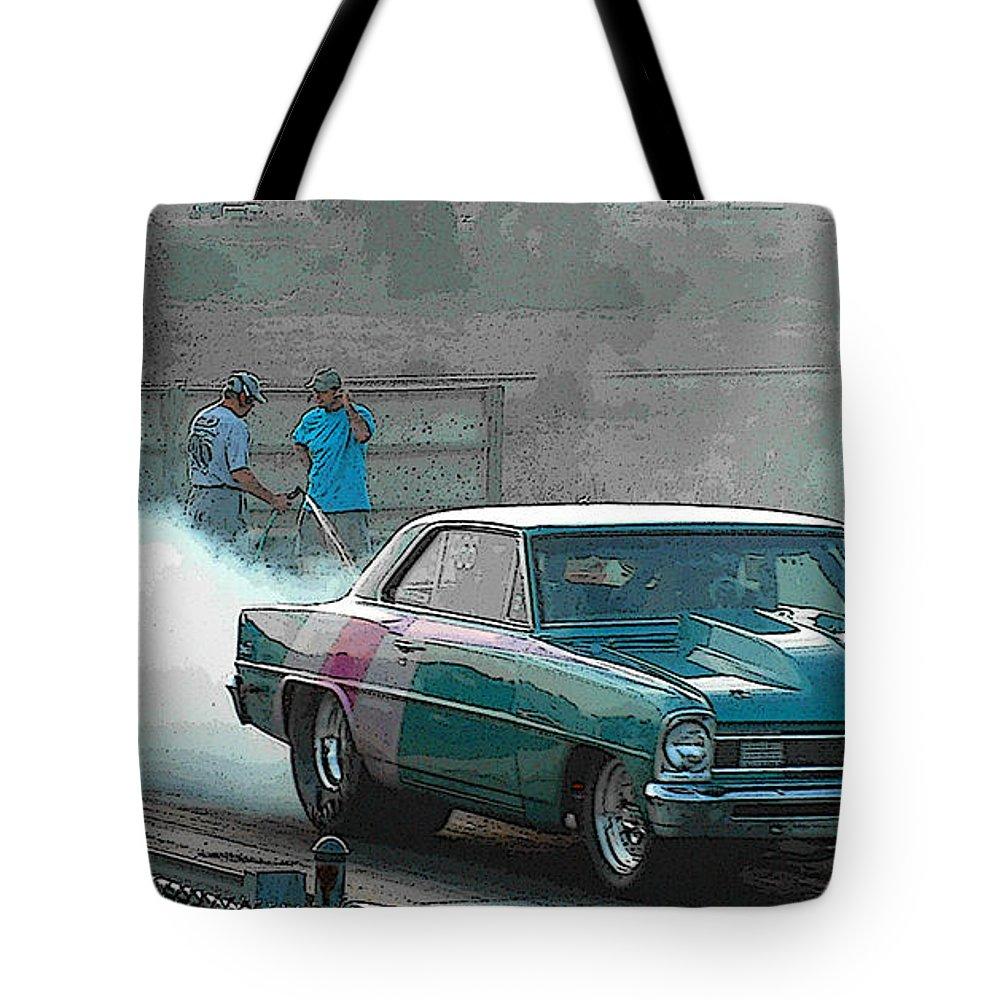 Drag Strip Tote Bag featuring the photograph Drag Strip by John Dauer