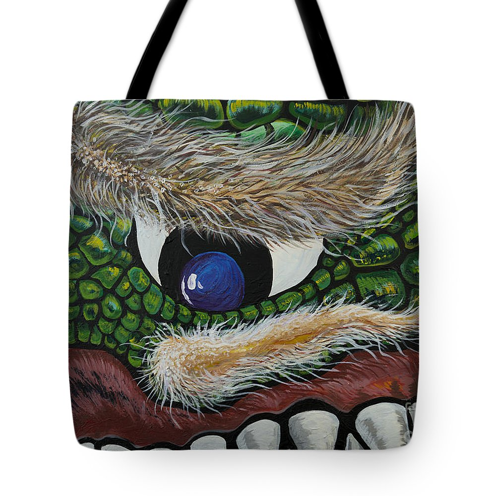 Monster Tote Bag featuring the painting Dragon Cyclops by Doug LaRue