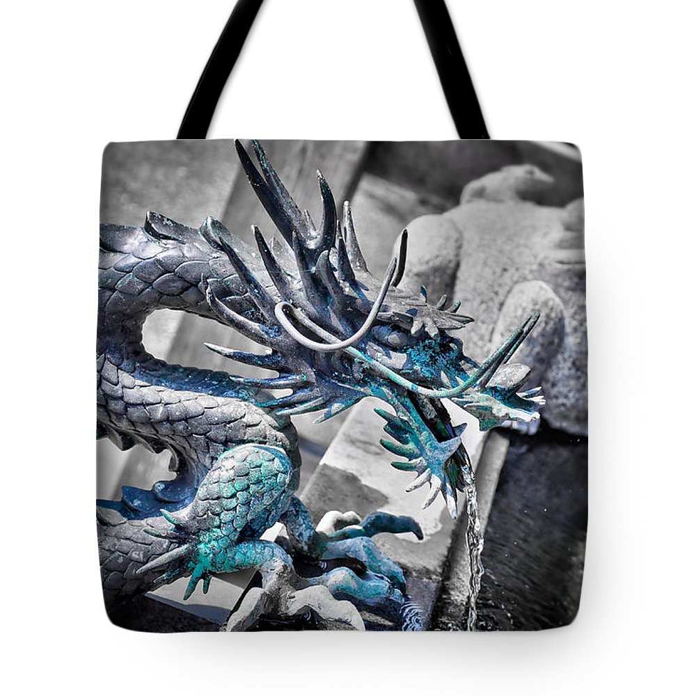 Dragon Tote Bag featuring the photograph Dragon Fountain by Delphimages Photo Creations