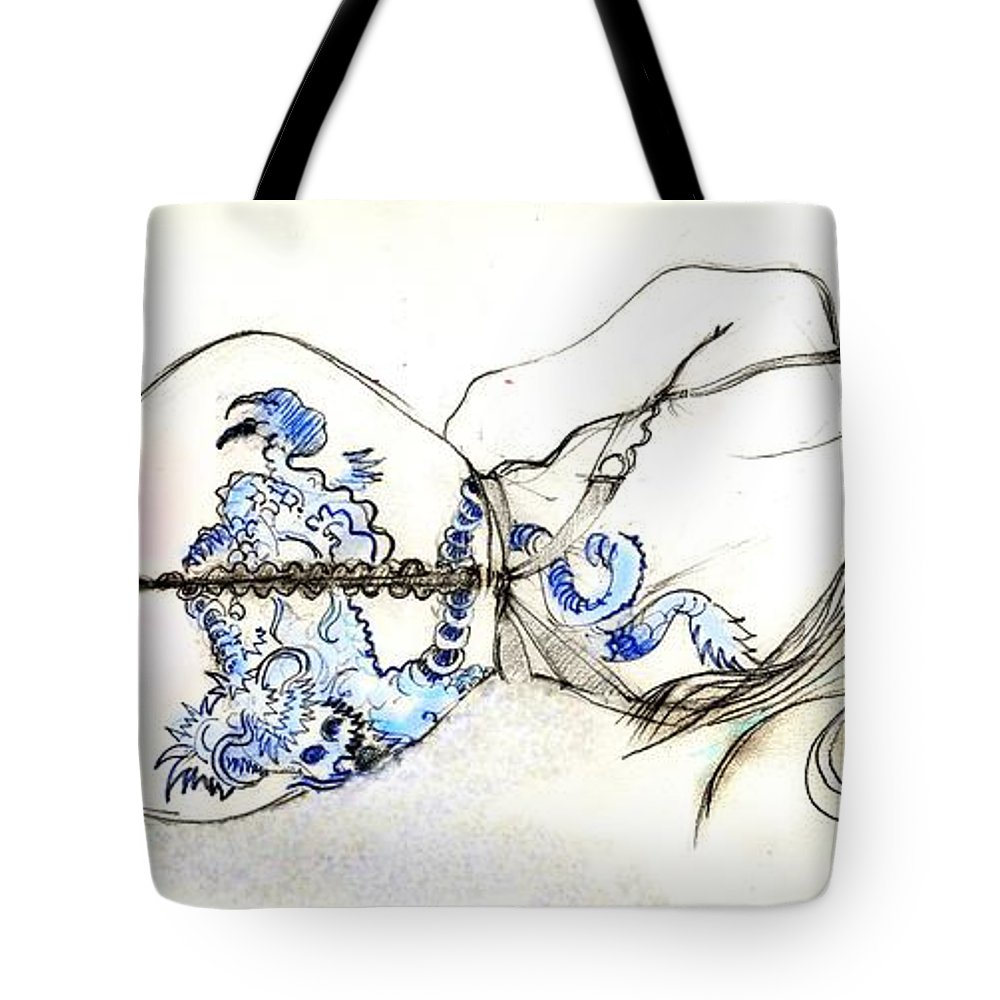 Nude Tote Bag featuring the painting Dragon Girl by Carolyn Weltman