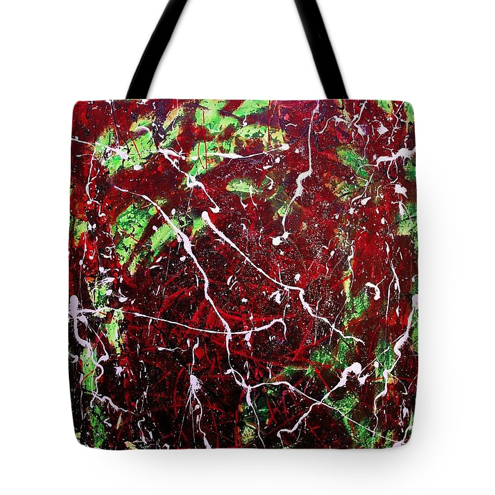 Abstract Tote Bag featuring the painting Dragon Slayer by Wayne Cantrell