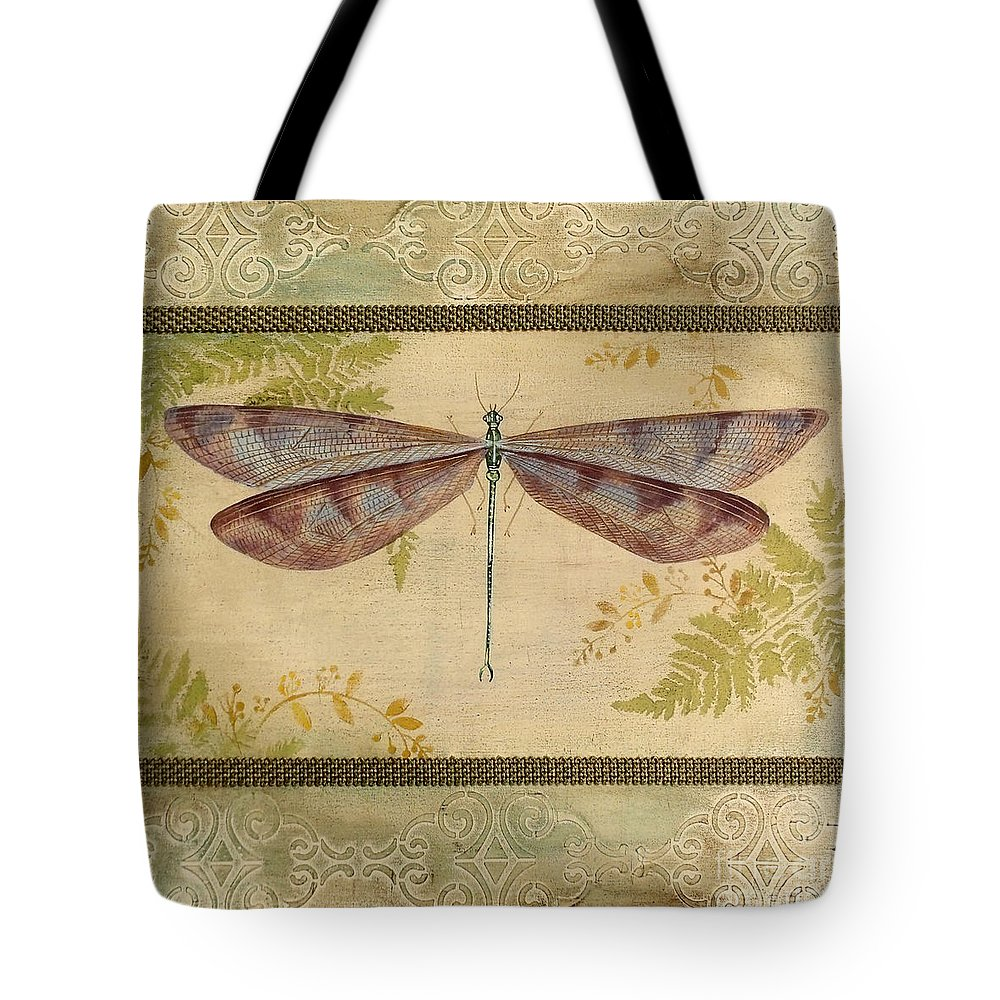 Acrylic Painting Tote Bag featuring the painting Dragonfly Among The Ferns-3 by Jean Plout