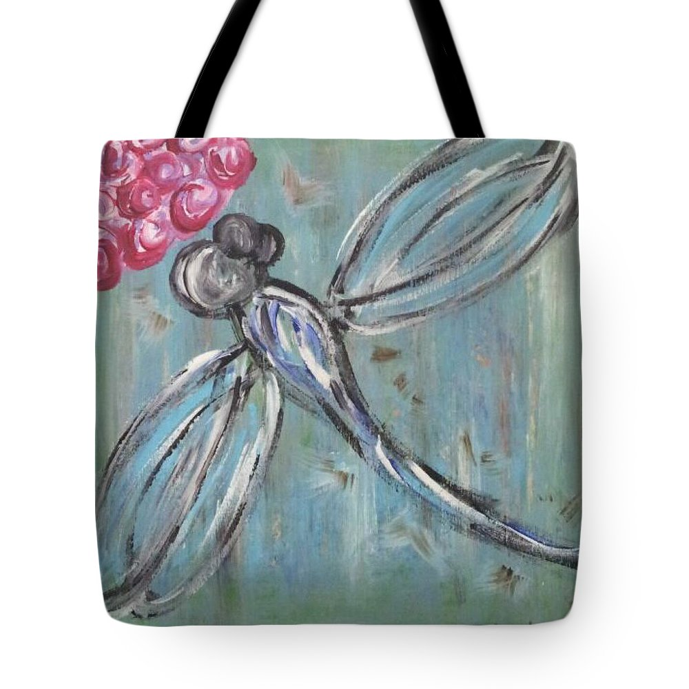 Dragonfly Tote Bag featuring the painting Dragonfly Baby by Tina Vaughn