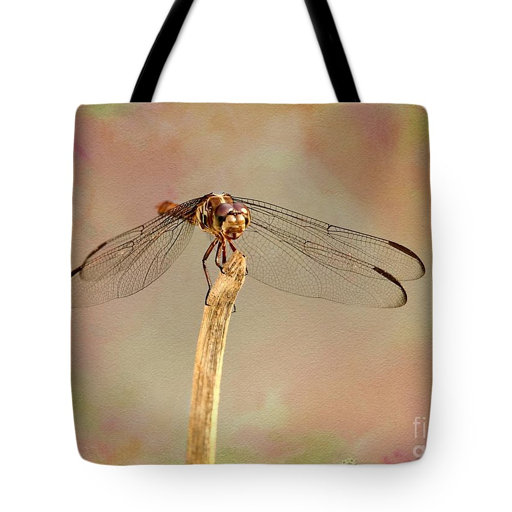 Dragonfly Tote Bag featuring the photograph Dragonfly In Fantasy Land by Sabrina L Ryan
