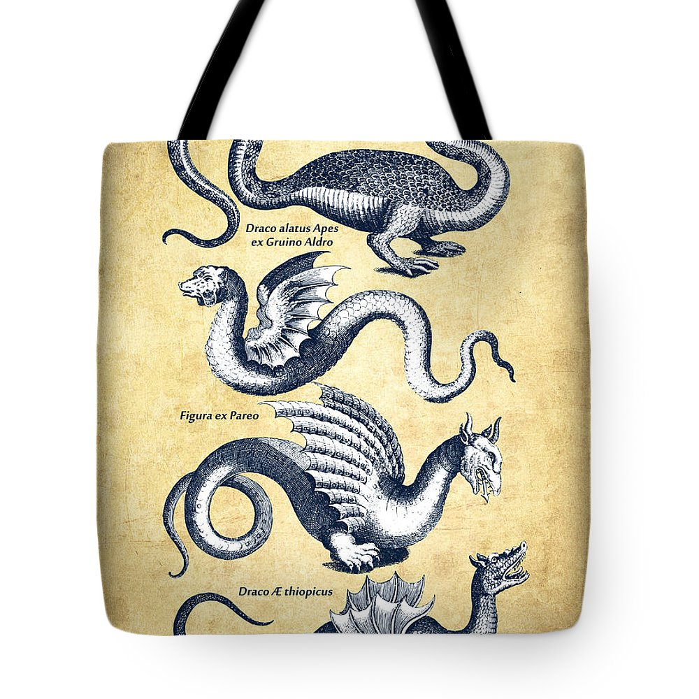 Dragon Tote Bag featuring the drawing Dragons - Historiae Naturalis - 1657 - Vintage by Aged Pixel