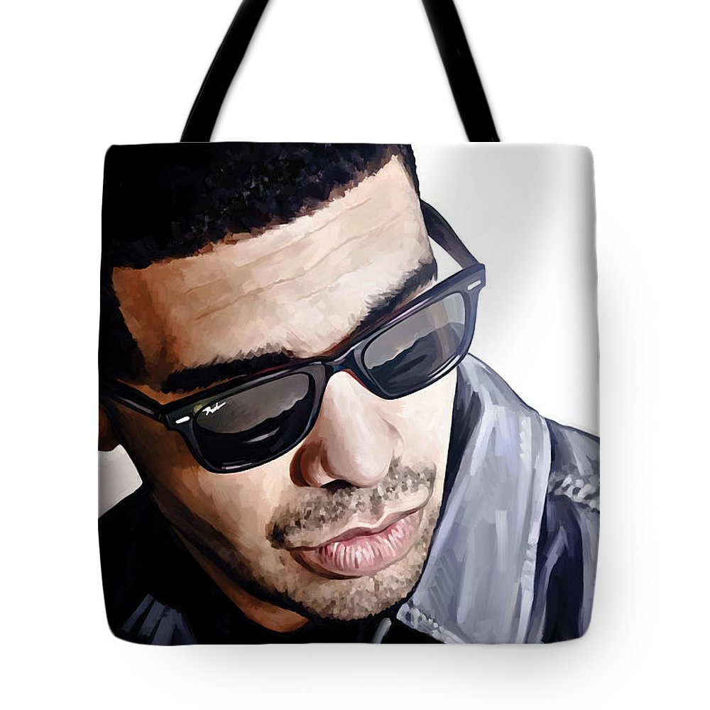 Drake Paintings Tote Bag featuring the painting Drake Artwork 1 by Sheraz A