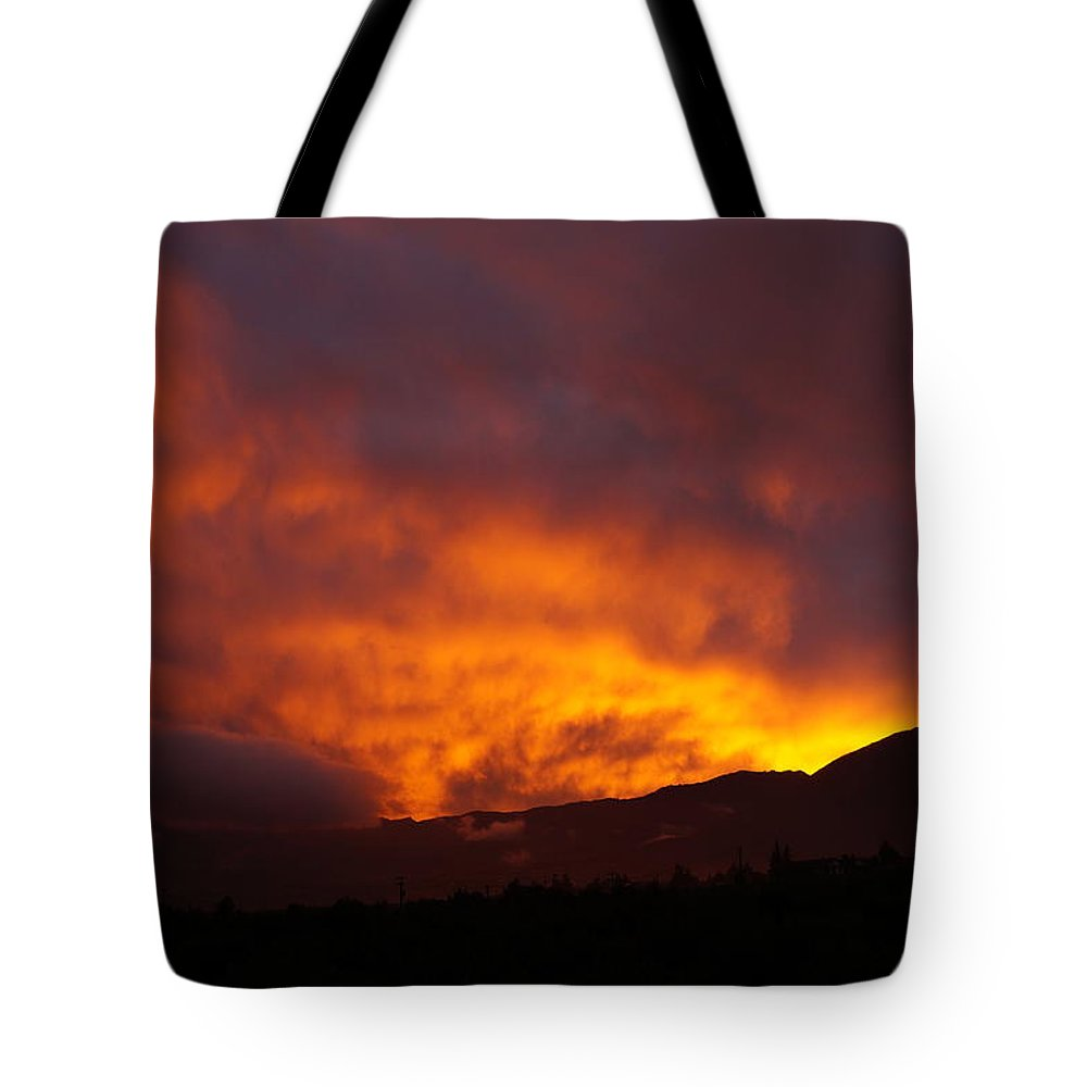 Clouds Tote Bag featuring the photograph Amber Twilight by Andonis Katanos