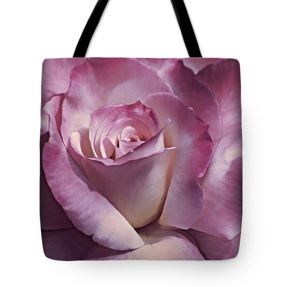Rose Tote Bag featuring the photograph Dramatic Plum Rose Flower by Jennie Marie Schell