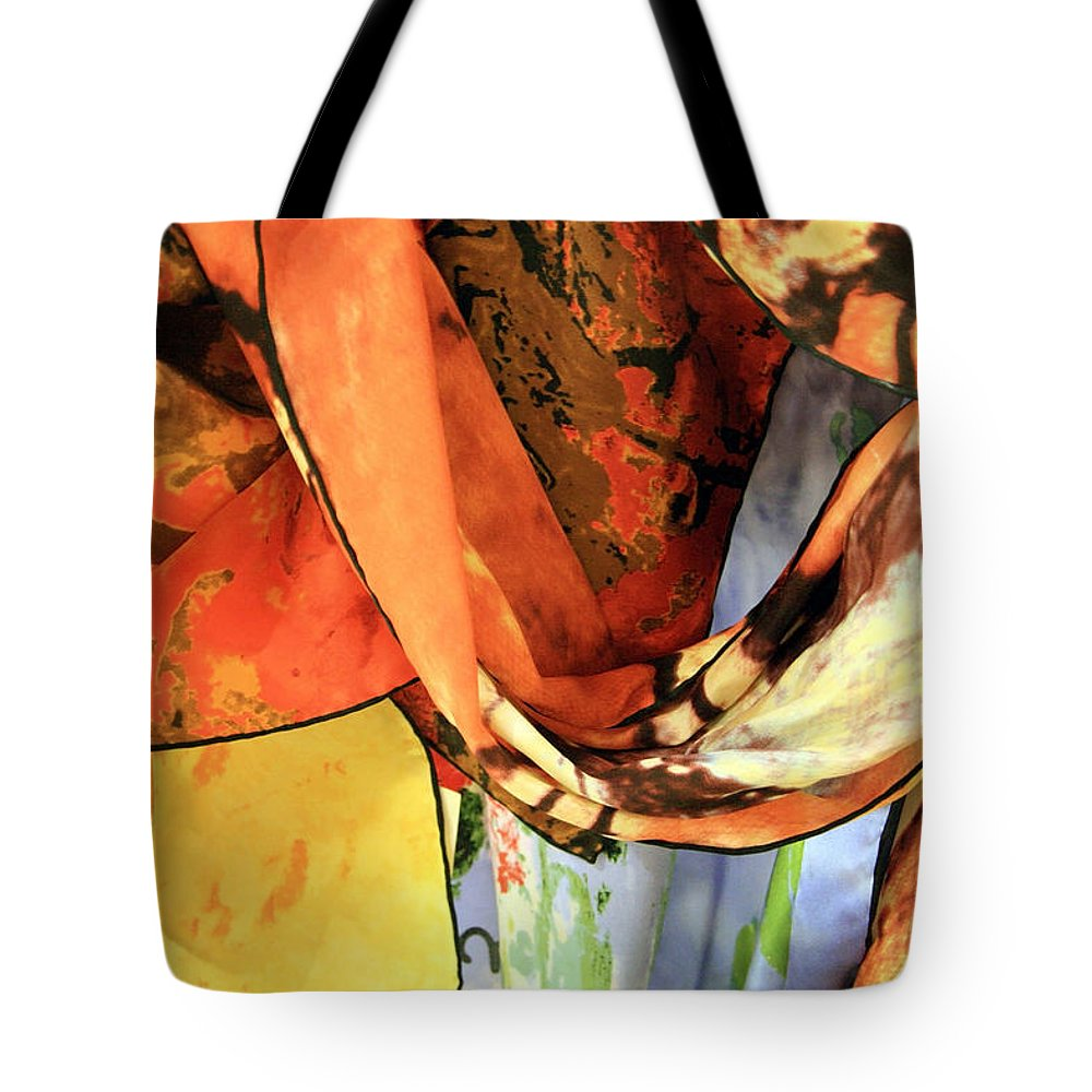 Scarves Tote Bag featuring the photograph Draped Scarves by Cora Wandel