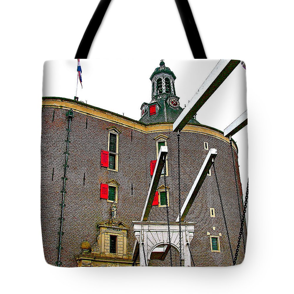 Drawbridge And Tower In Enkhuizen Tote Bag featuring the photograph Drawbridge And Tower In Enkhuizen-netherlands by Ruth Hager