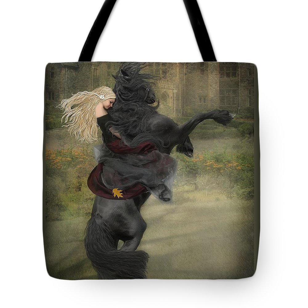 Horses Tote Bag featuring the mixed media Dream a little dream... by Fran J Scott