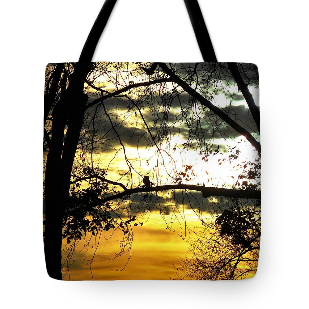 Bird In Tree Tote Bag featuring the photograph Dream At Dusk by Gothicrow Images
