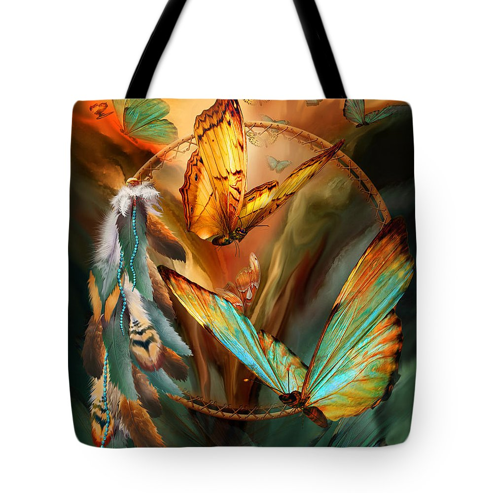 Carol Cavalaris Tote Bag featuring the mixed media Dream Catcher - Spirit Of The Butterfly by Carol Cavalaris