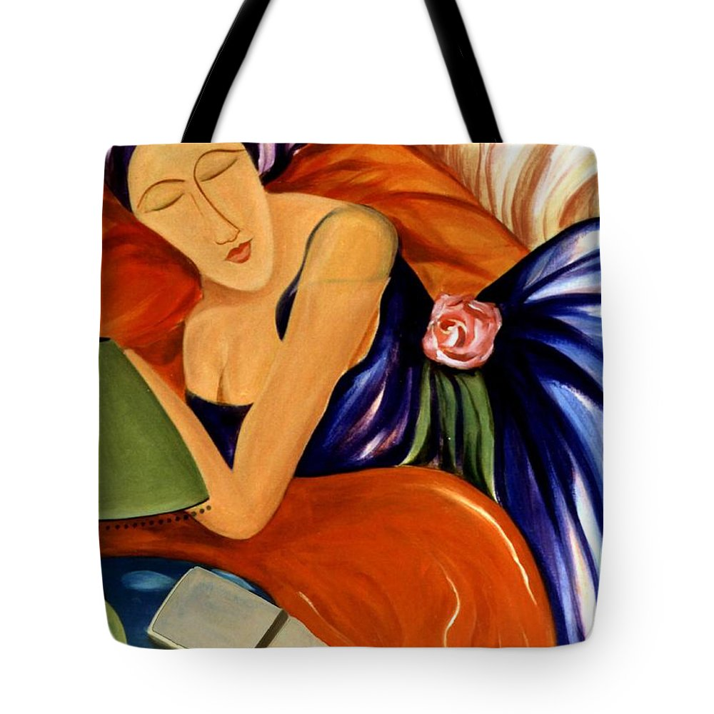 #female #figurative #floral #beauty #dream #fineart #art #images #painting #artist #print Tote Bag featuring the painting Dream by Jacquelinemari