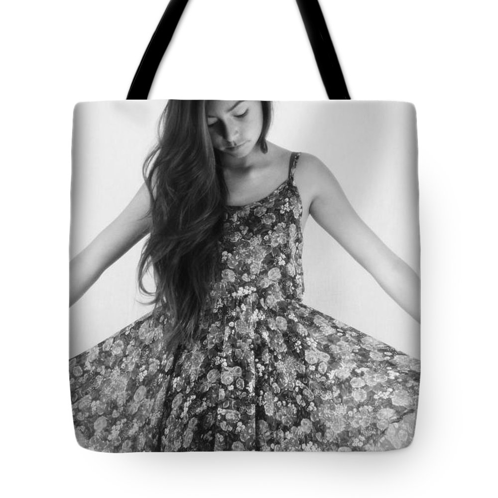 Girl In Flowers Tote Bag featuring the photograph Dream by Marianne Jimenez