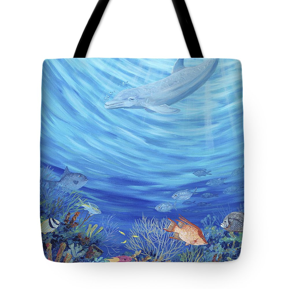 Florida Tote Bag featuring the painting Dream Reef by Danielle Perry