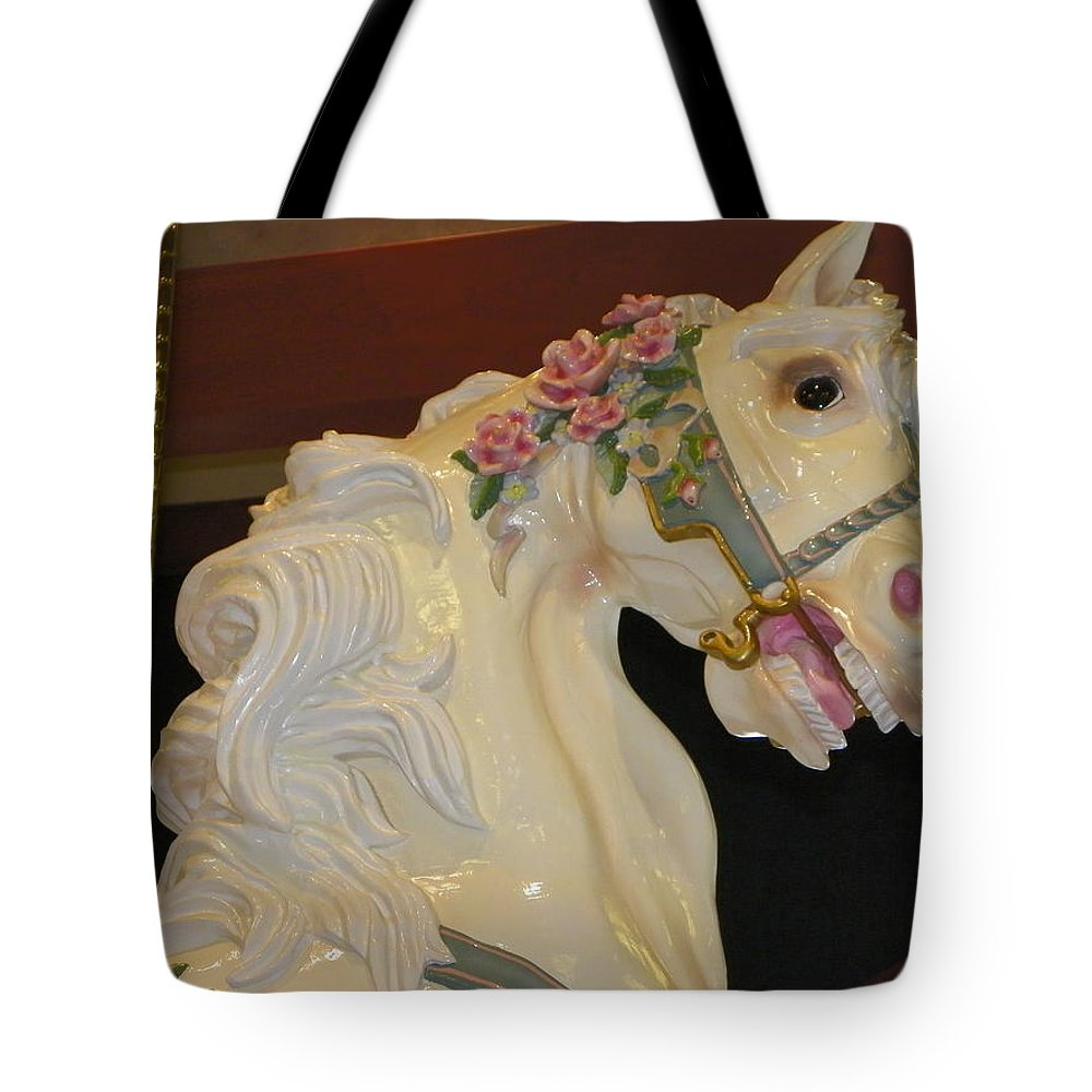 Carousel Tote Bag featuring the photograph Dream Steed by Georgia Hamlin