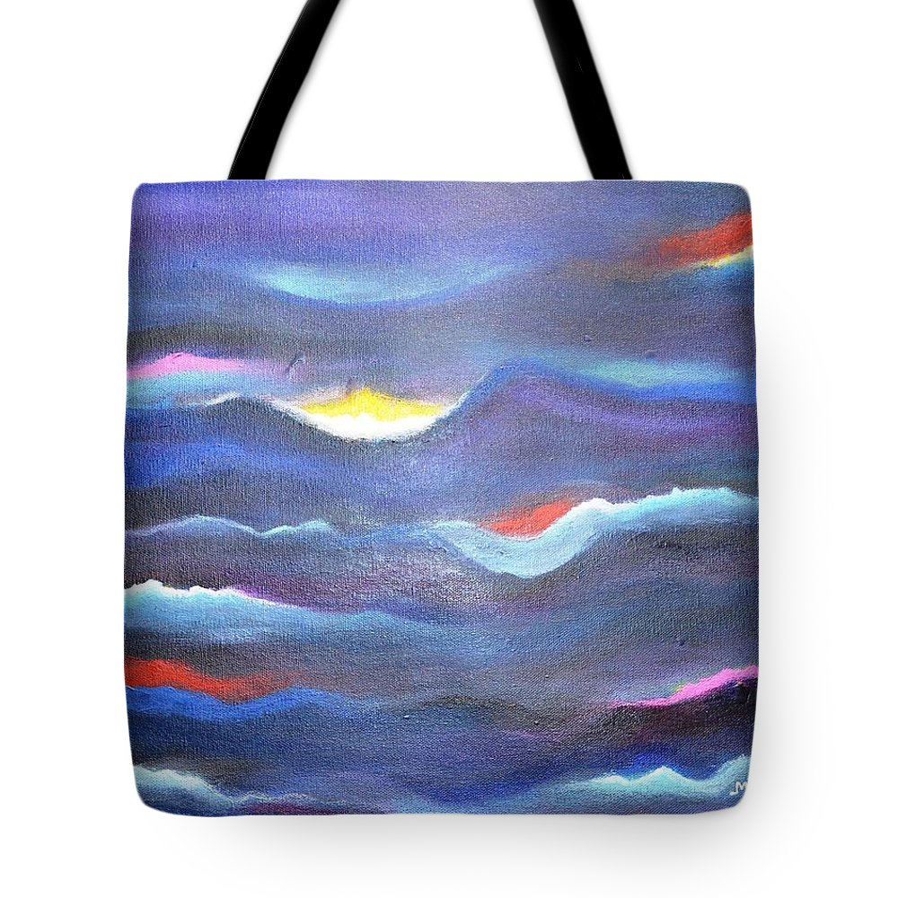 Abstract Tote Bag featuring the painting Dream waves-Abstract by Manjiri Kanvinde