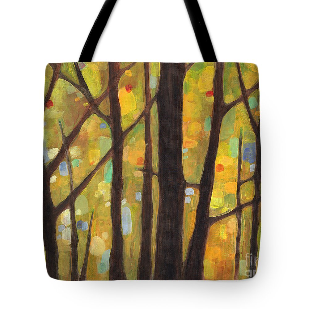 Dreaming Tote Bag featuring the painting Dreaming Trees 1 by Hailey E Herrera