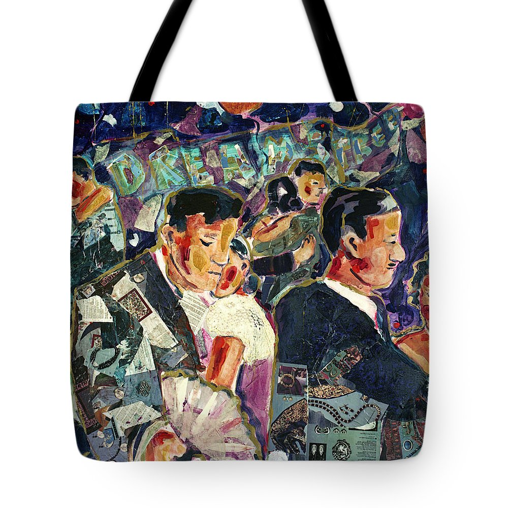 Art Painting Dancers Couples Big Band Jazz Romantic Expressive Acrylic Collage Coffeehouse Music Dancing Painting Dreams Archetypes Cafe Ballroom Tote Bag featuring the painting Dreamstreet Dancers by Faye Cummings
