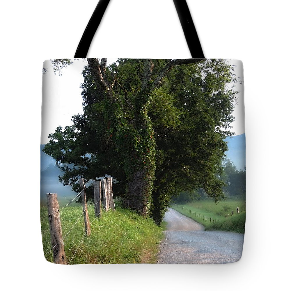 Cades Cove Tote Bag featuring the photograph Dreamy Morning by Roe Rader