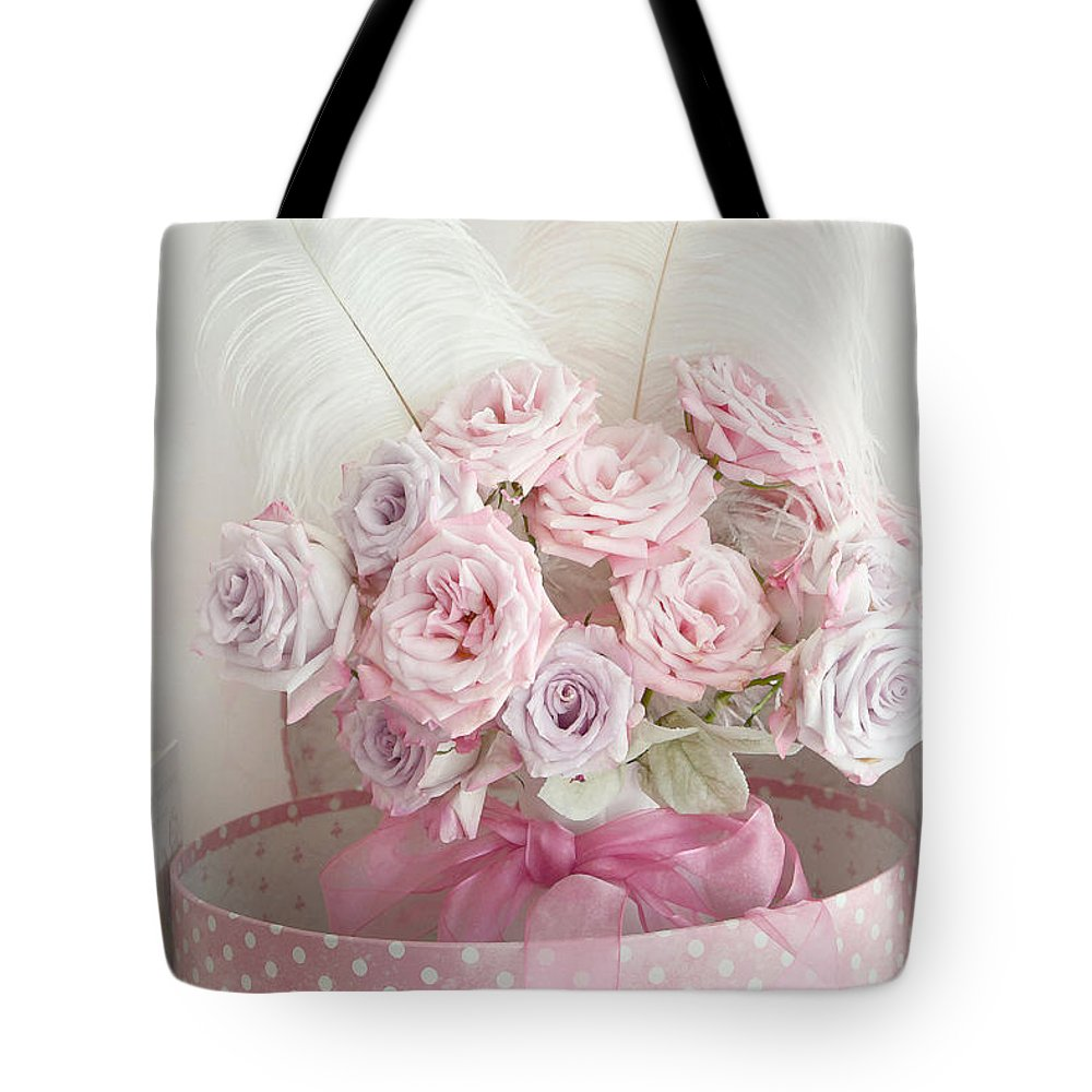 Dreamy shabby chic roses in pink polka dot hat box romantic roses floral bouquet tote bag cottage chic pink flowers tote bag featuring the photograph dreamy shabby chic roses in pink polka izmirmasajfo