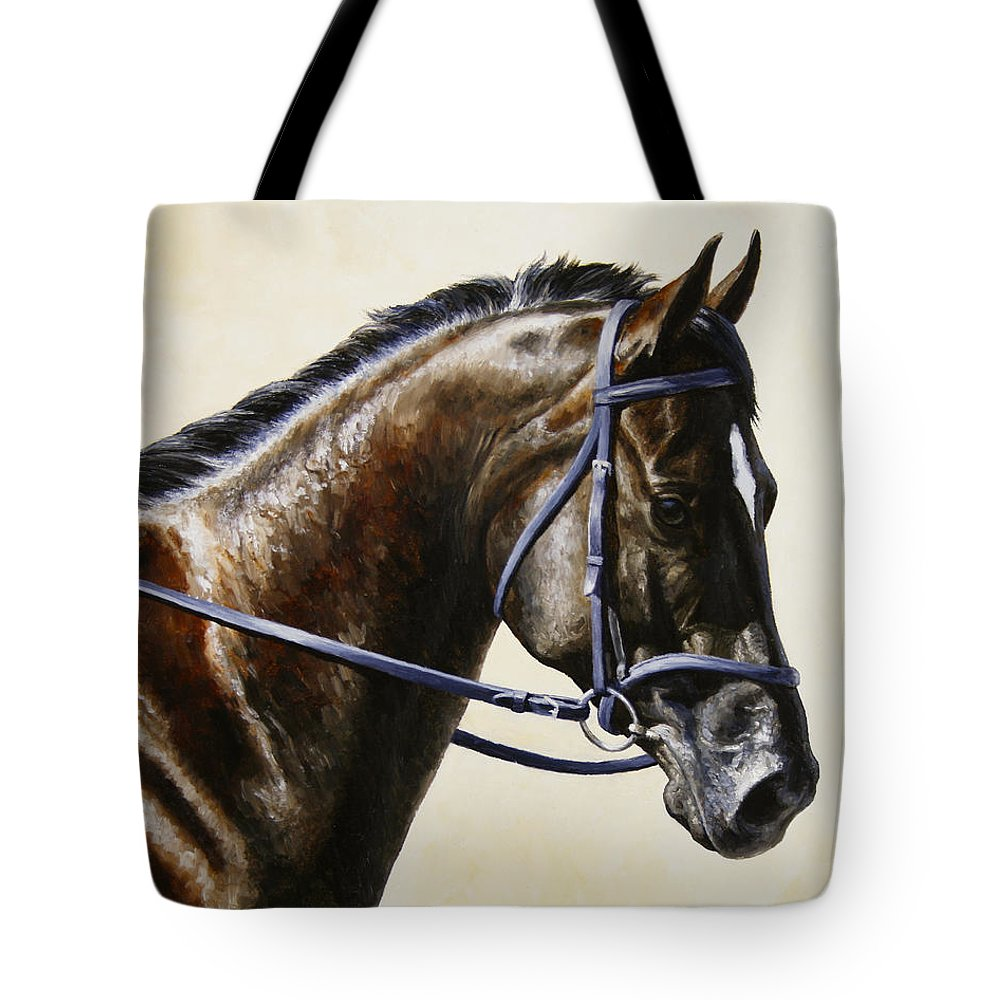 Horse Tote Bag featuring the painting Dressage Horse - Concentration by Crista Forest