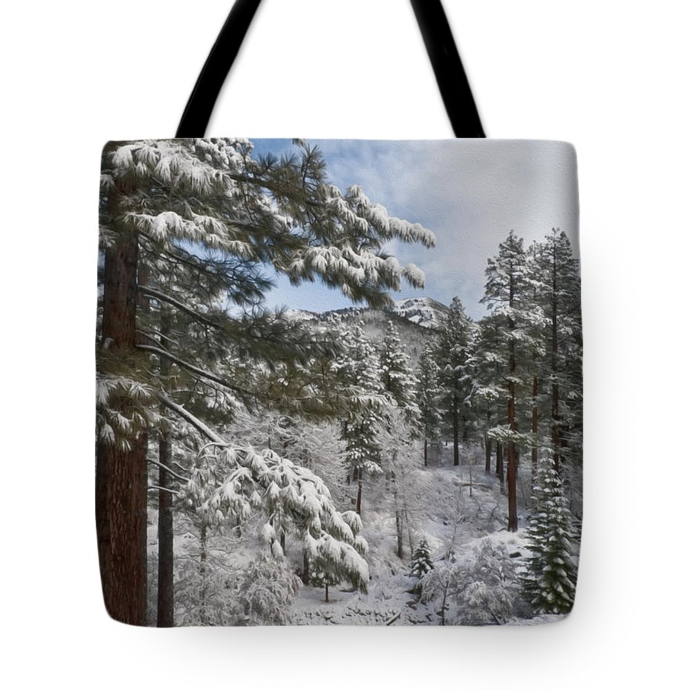 Landscape Tote Bag featuring the photograph Distant Peak by Maria Coulson
