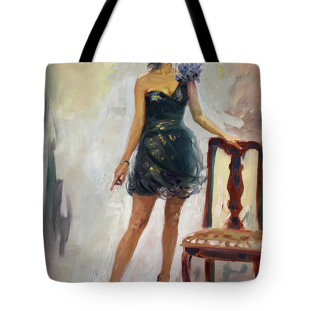 Girl Figure Tote Bag featuring the painting Dressed Up Girl by Ylli Haruni