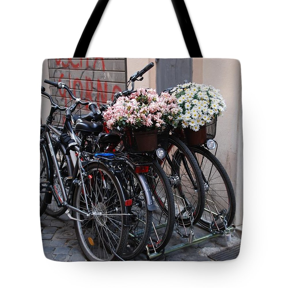Bicycle Stand Tote Bag featuring the photograph Dressing Up The Bicycle Stand by Eric Tressler