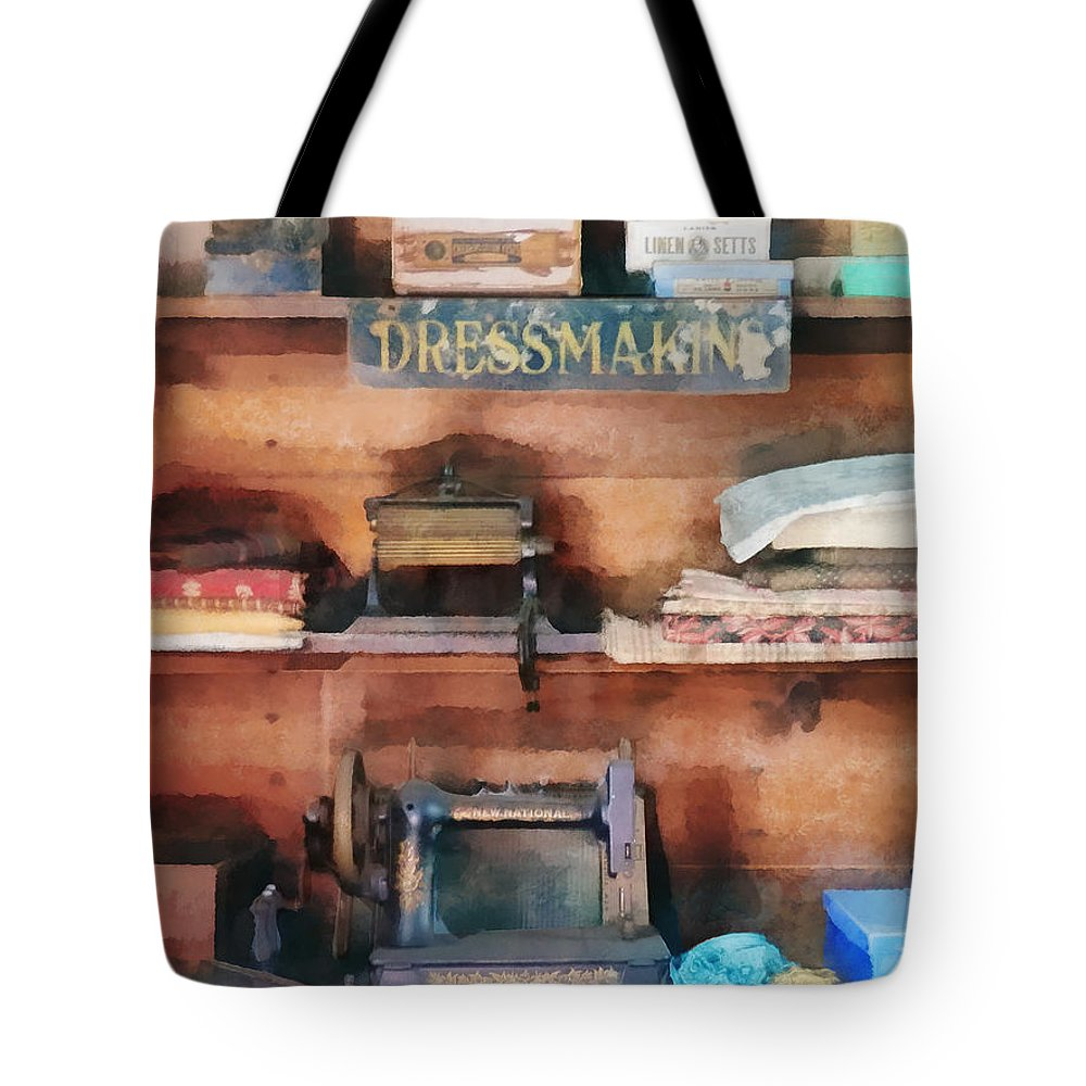 Sewing Machine Tote Bag featuring the photograph Dressmaking Supplies And Sewing Machine by Susan Savad