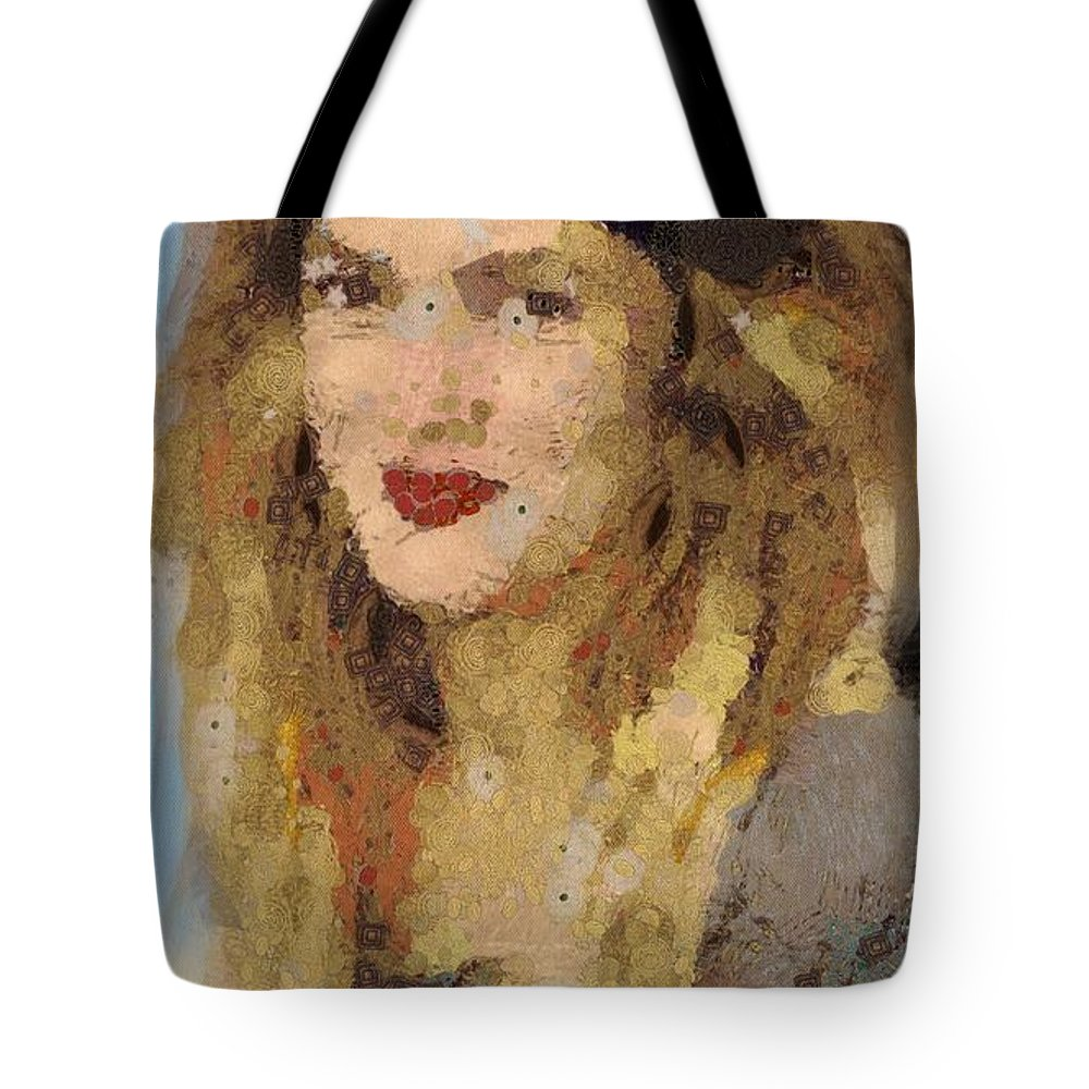 Drew Berrymore Tote Bag featuring the painting Drew Berrymore by Catherine Lott