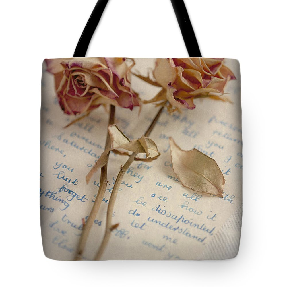 Rose Tote Bag featuring the photograph Dried Roses And Vintage Letter by Lee Avison