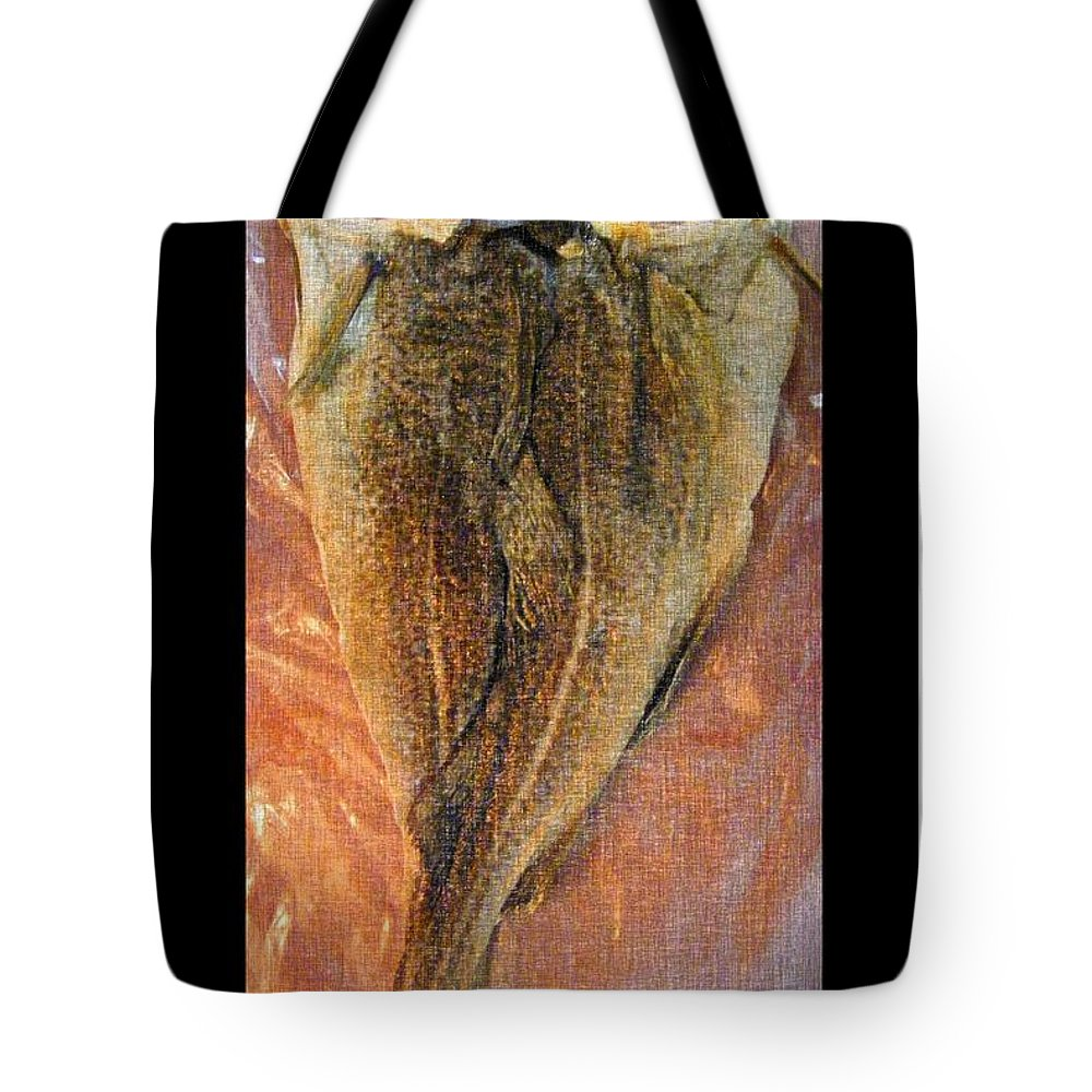 Dried Salted Codfish Back Tote Bag featuring the digital art Dried Salted Codfish Back by Barbara Griffin