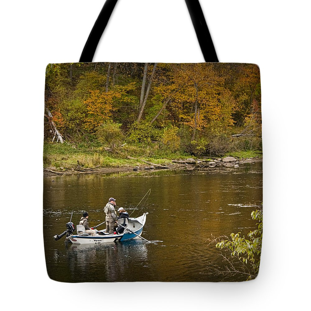 Art Tote Bag featuring the photograph Drift Boat Fishermen On The Muskegon River by Randall Nyhof
