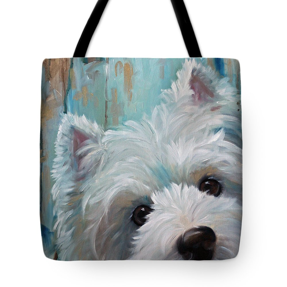 West Highland Terrier Tote Bag featuring the painting Drip by Mary Sparrow