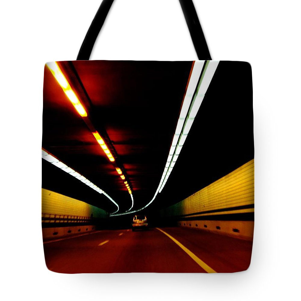 Tunnel Tote Bag featuring the photograph Driving In Boston by Charlie and Norma Brock
